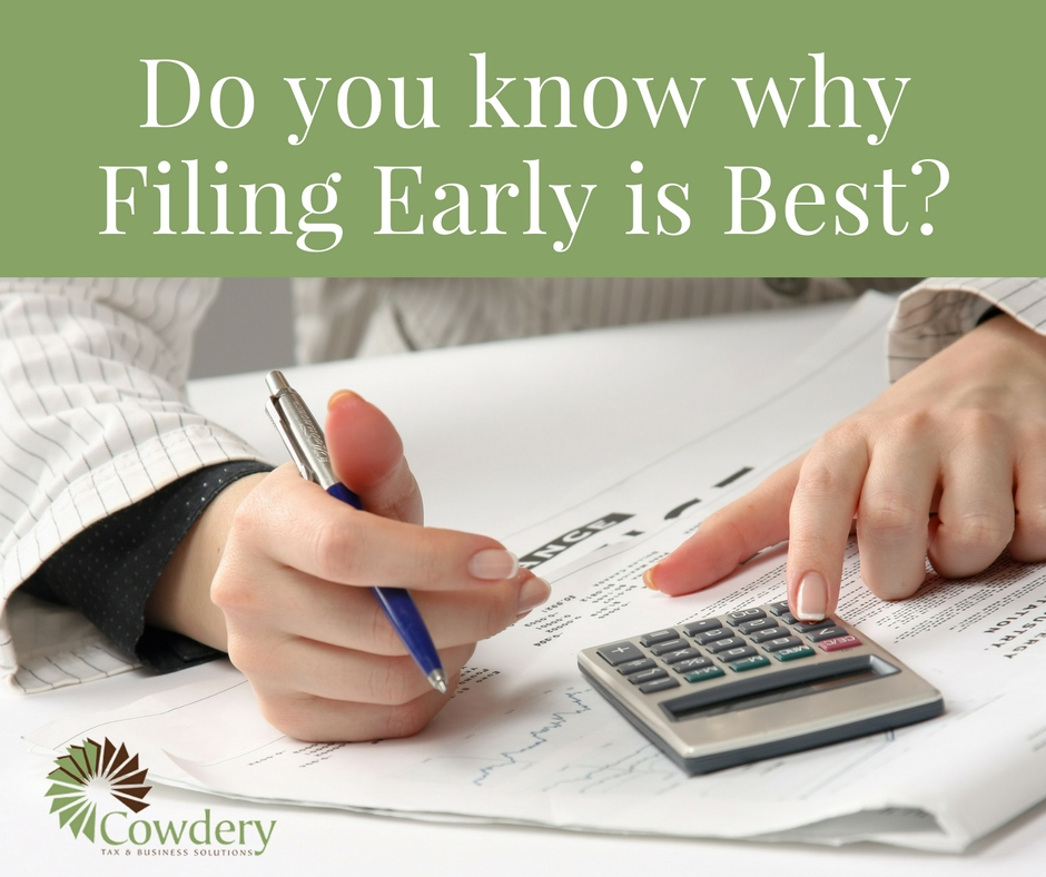 Do you know whyFiling Early is Best? | CowderyTax.com